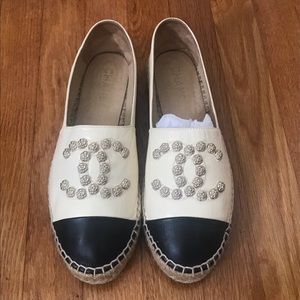Chanel Camellia Studded CC Lambskin Espadrilles